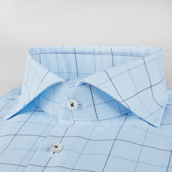 Stenstroms Blue Window Pane Fitted Body Shirt