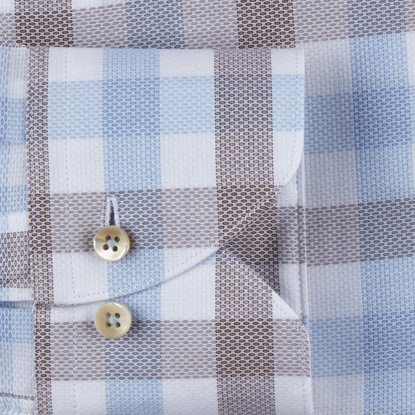 Stenstroms Blue/Tan Check Fitted Body Sport Shirt