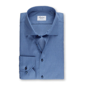 Stenstroms Navy Micro Patterned Fitted Body Shirt, Stretch