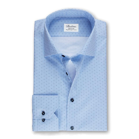 Stenstroms Blue Micro Patterned Fitted Body Shirt