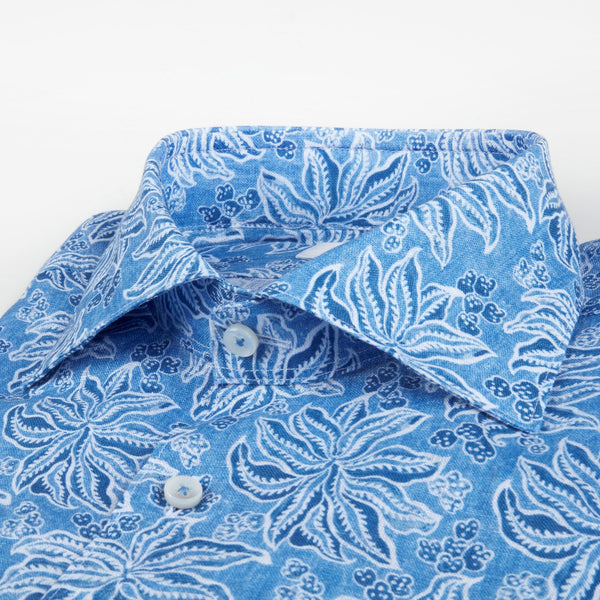 Stenstroms Leaf Patterned Linen Fitted Body Shirt