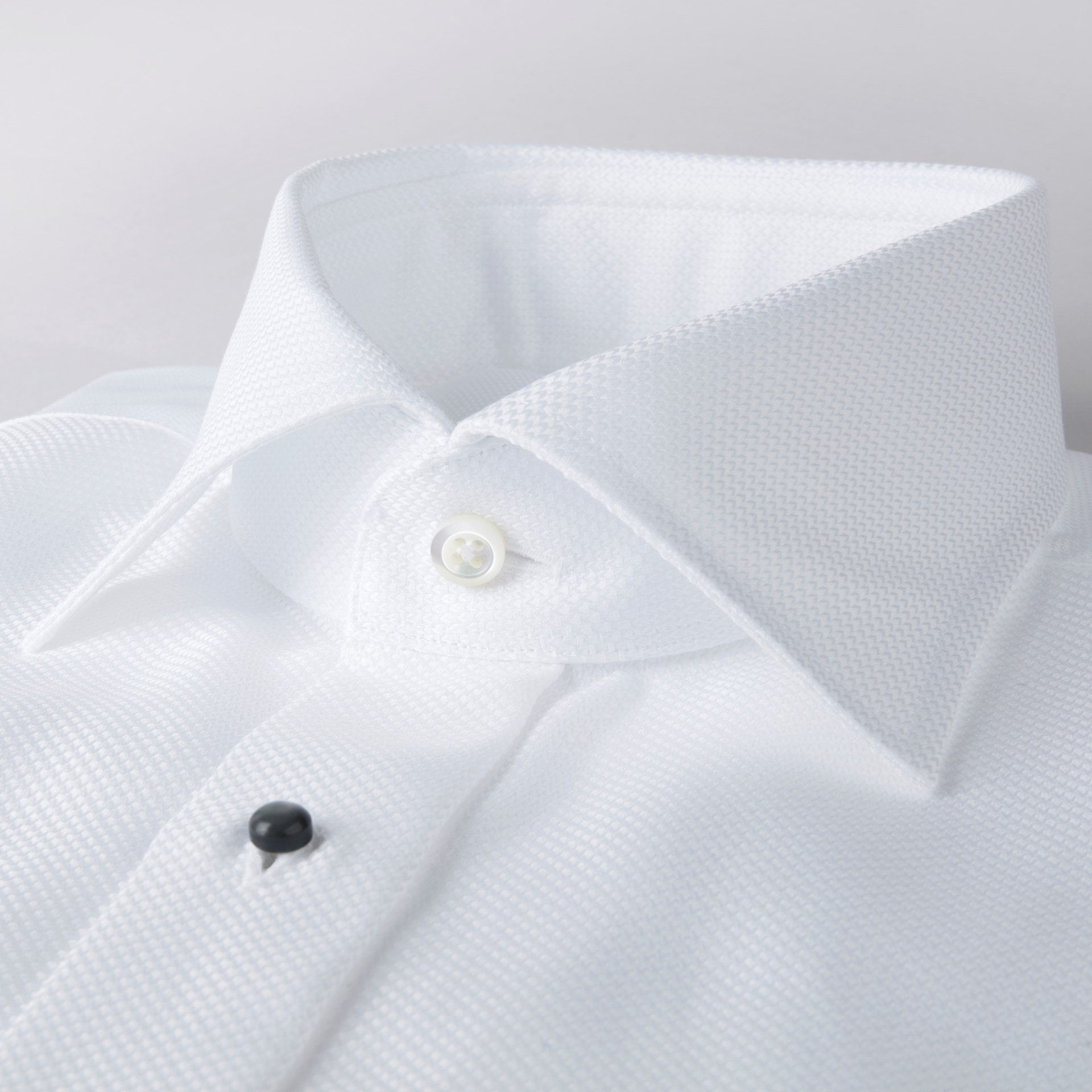 Stenstroms White Oxford Stud Front Tuxedo Dress Shirt