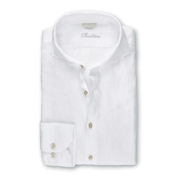 Stenstroms White Fitted Body Linen Shirt