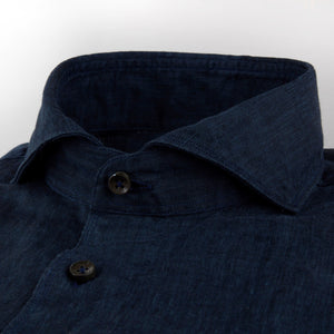 Stenstroms Navy Fitted Body Linen Shirt