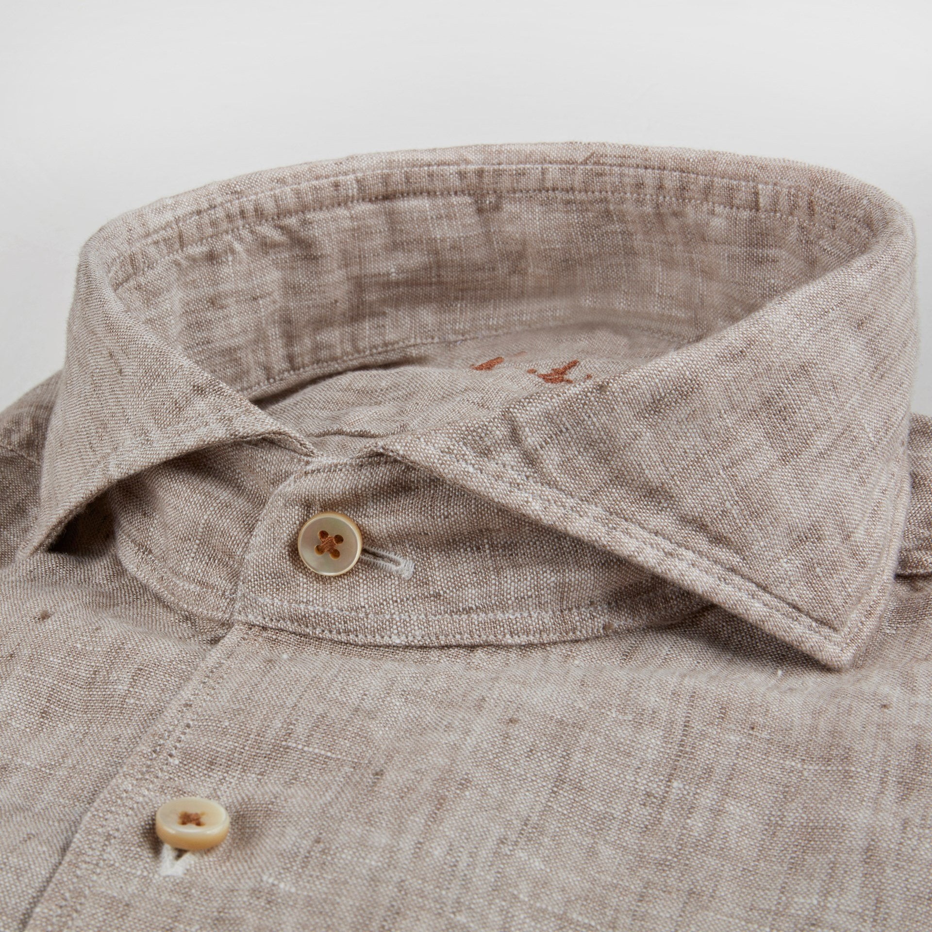 Stenstroms Beige Fitted Body Linen Shirt