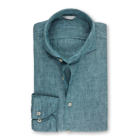 Stenstroms Pale Green Fitted Body Linen Shirt