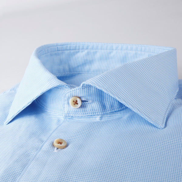 Stenstroms Light Blue Hounds Tooth Fitted Body Sport Shirt