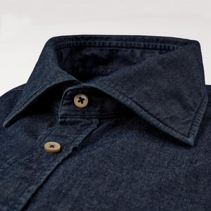 Stenstroms Fitted Body Shirt In Dark Denim