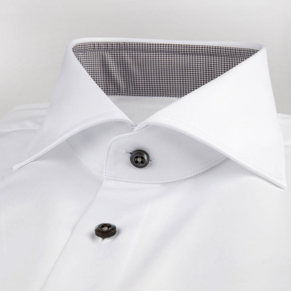 Stenstroms White Fitted Body Shirt With Grey Contrast Details