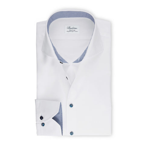 Stenstroms White Fitted Body Shirt With Navy Contrast Details