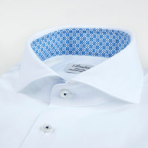 Stenstroms White Fitted Body Shirt W Contrast