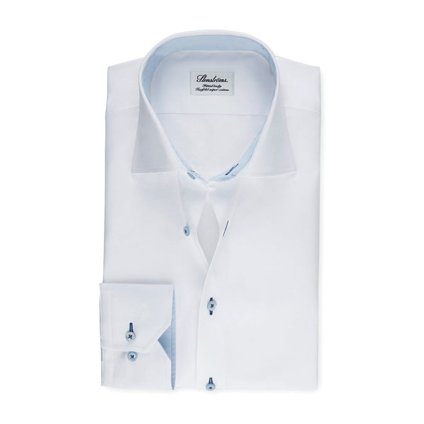 Stenstroms White CLASSIC FIT Shirt With Blue Contrast Details