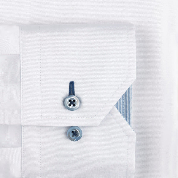 Stenstroms White Fitted Body Shirt With Blue Contrast Details