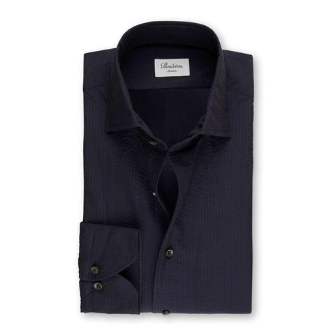 Stenstroms Navy Seersucker Fitted Body Shirt