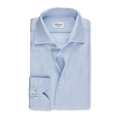 Stenstroms Light Blue Jacquard Fitted Body Sport Shirt