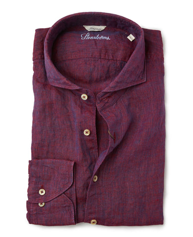 Stenstroms Melange Burgundy Linen Fitted Body Sport Shirt