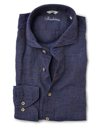 Stenstroms Navy Melange Fitted Body Linen Shirt