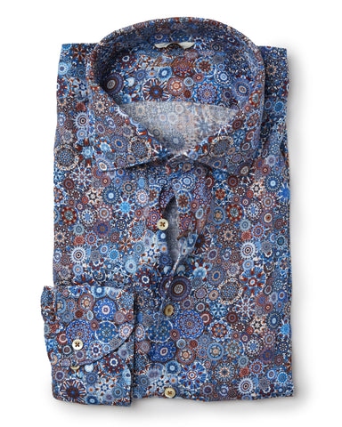 Stenstroms Multi Colored LINEN Fitted Body Sport Shirt