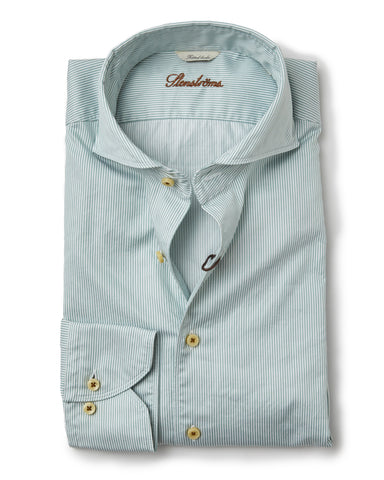 Stenstroms Green Stripe Fitted Body Sport Shirt
