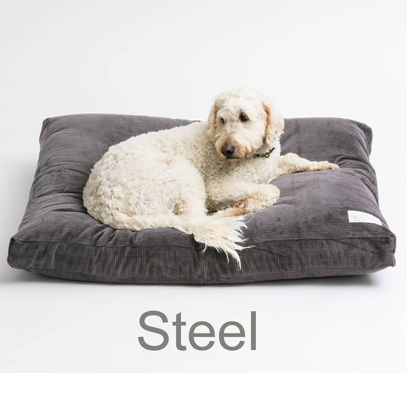 Large Wool Filled dog bed - Steel - 110cm x 89cm