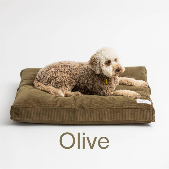 Large Wool Filled dog bed - Olive - 110cm x 89cm