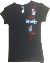 "Charger l'image dans la galerie, 24 - Tee-Shirt ""2 bottes strass country"""