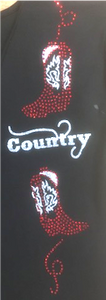 "24 - Tee-Shirt ""2 bottes strass country"""