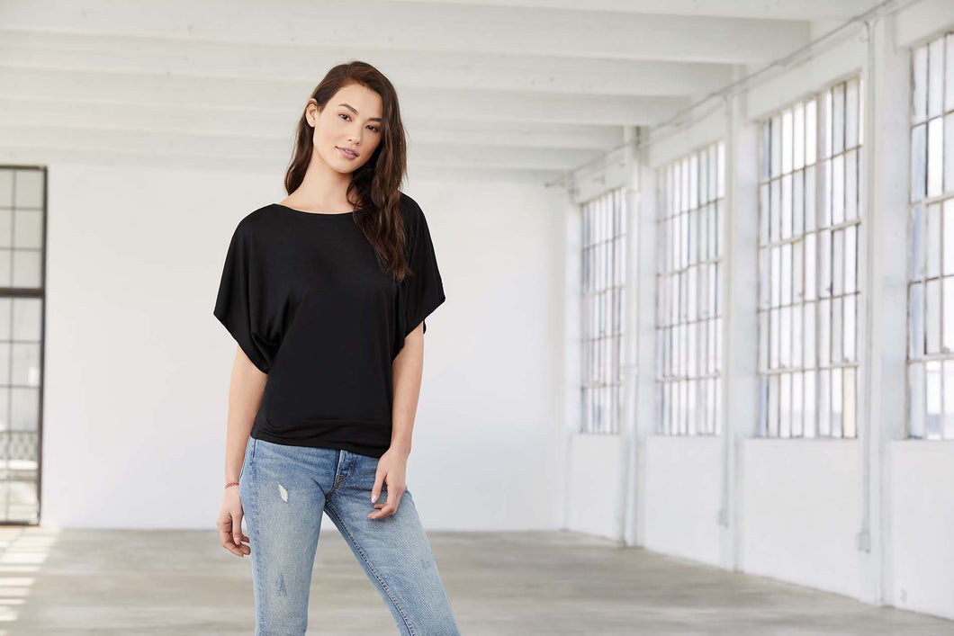 T-Shirt Flowy Dolman Manches Courtes (BE8821)
