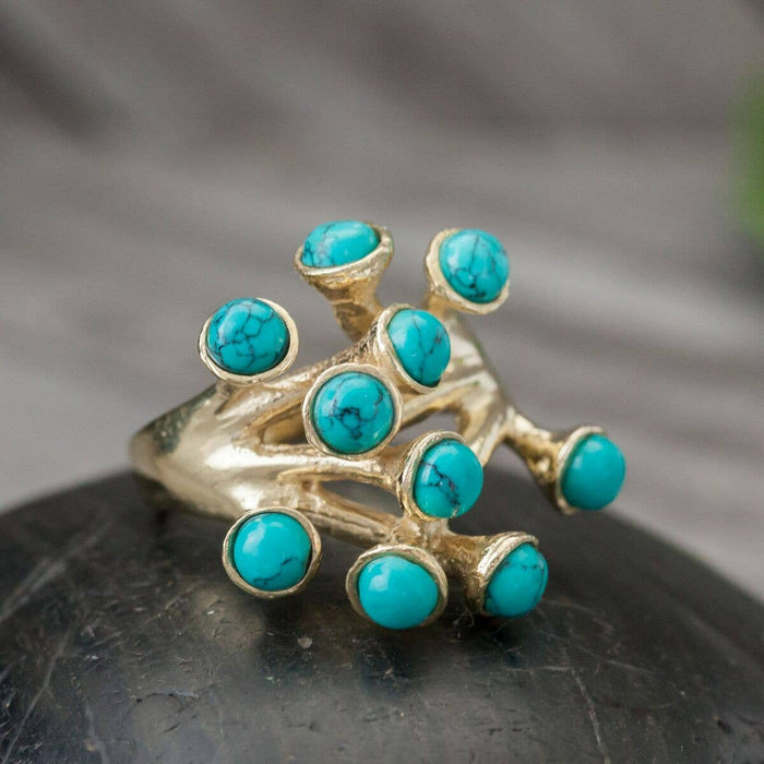 Brass Turquoise Blossom Ring