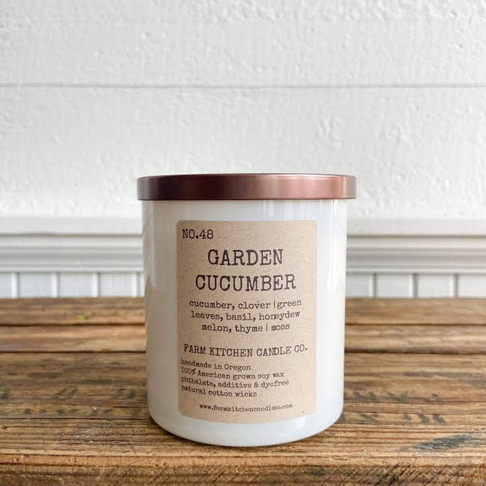 NEW SUMMER!  Garden Cucumber soy candle- white