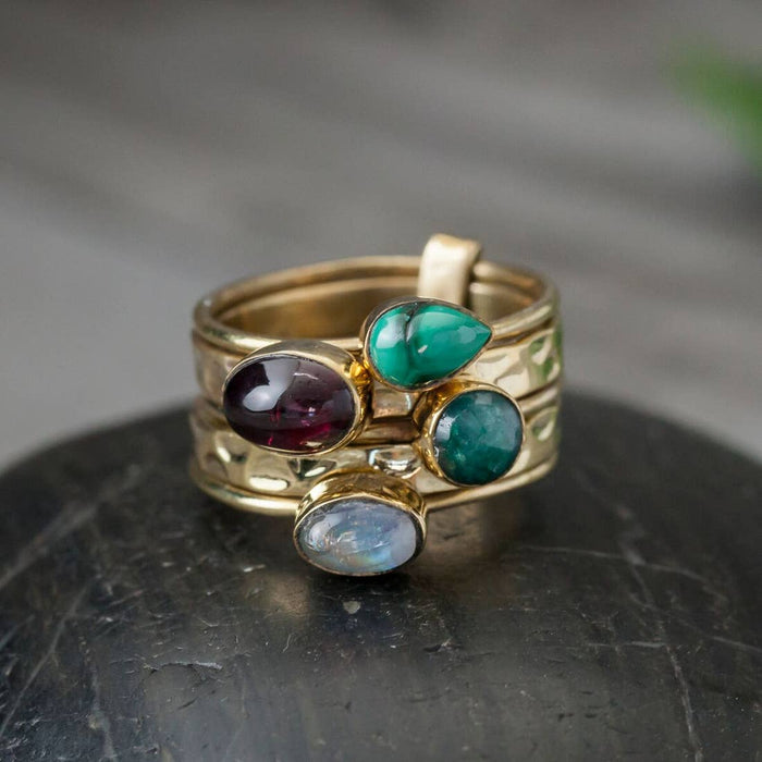 Five Stone Brass Stack Ring