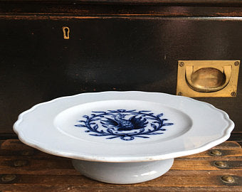 Vintage English Cauldon Cake Plate - Lt Blue