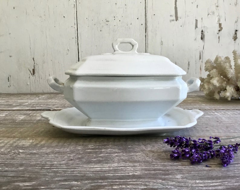 Vintage White Ironstone Tureen with Under Plate