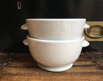 Vintage French Ceramic Footed Bowls
