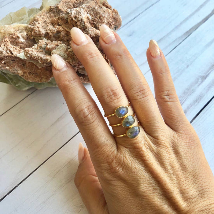 Labradorite Triple Band Ring