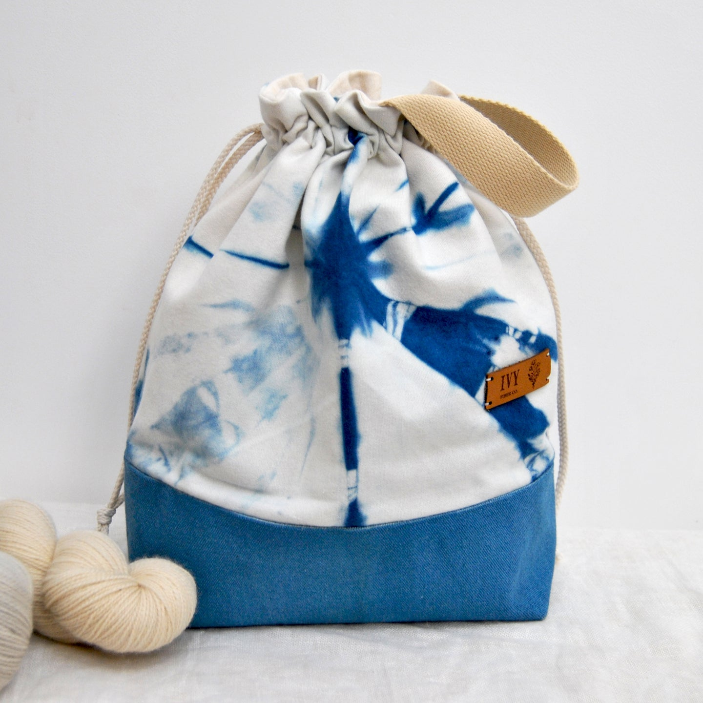 Naturally Dyed project bag - Indigo Star
