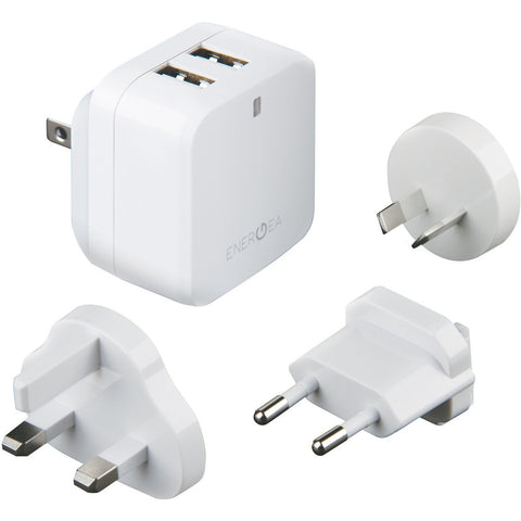 Energea TravelWorld 3.4, 2 USB Wall Charger Reise-Ladegerät, mit US/UK/EU/AU Adapter, 5V/3.4A