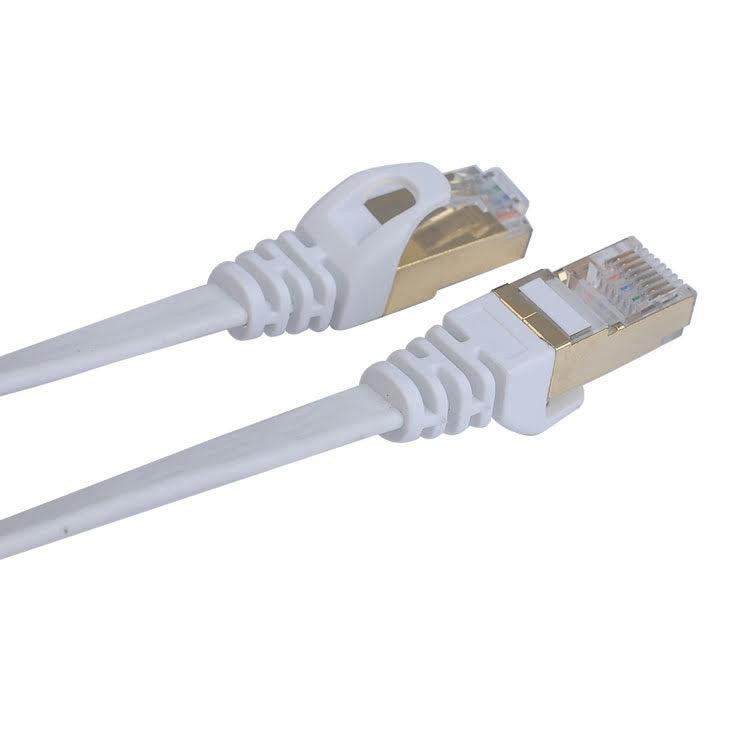 Kingwire Flachband Patchkabel Cat.7, S/STP, 10m, weiss - von SupplyRevolution