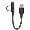 Energea NyloTough 2-in-1 microUSB + Lightning MFI Lade- & Datenkabel, schwarz 16cm - von SupplyRevolution
