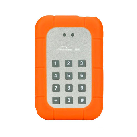 "Blueendless BS-KEY25-2 USB 3.0 zu SATA 2.5"" HDD/SSD Gehäuse Safe mit AES 256 PIN-Sperre orange"
