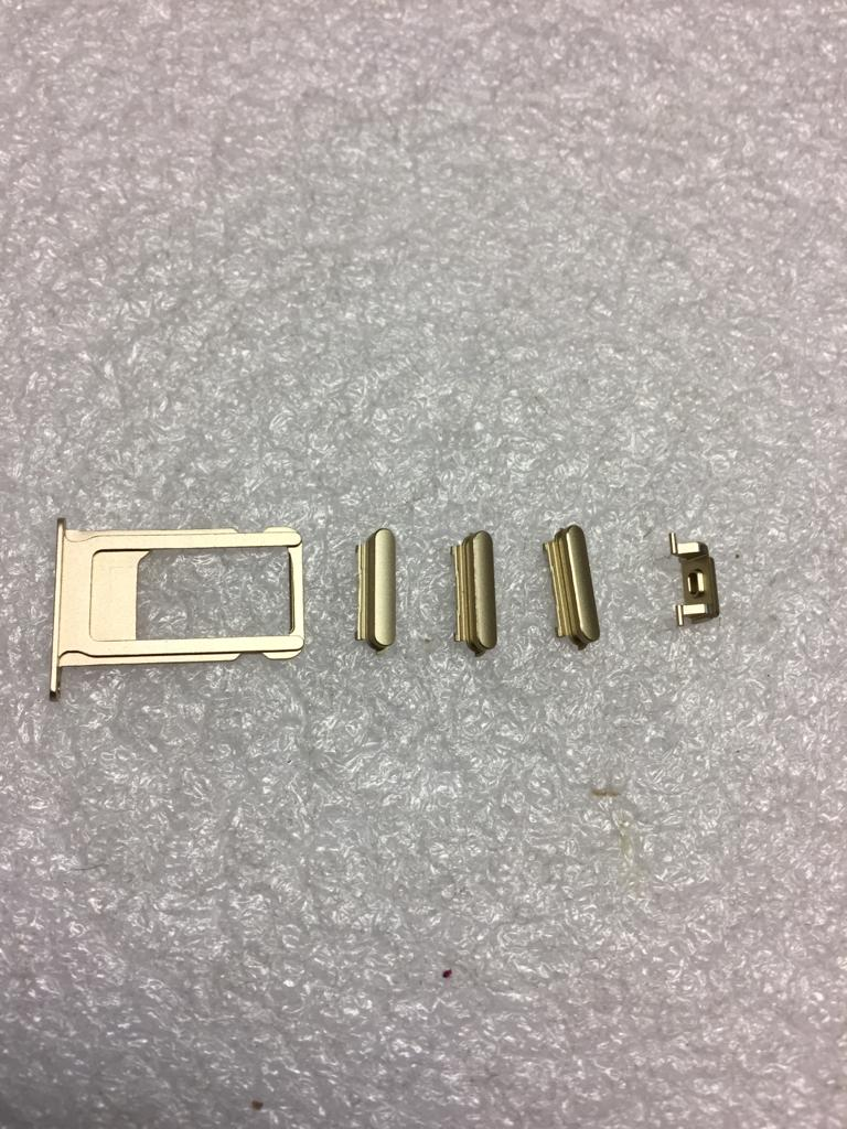 iPhone 6S Plus Tasten Knöpfe Set 5in1 (Power/Volume/Mute) + Sim Karten Adapter gold