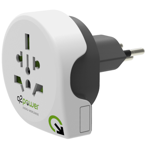 q2power World to Switzerland Reiseadapter (3-Pol. Typ J, UK, AUS, IT, USA)