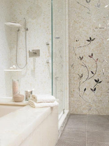 Bathroom with plant tile mosaic