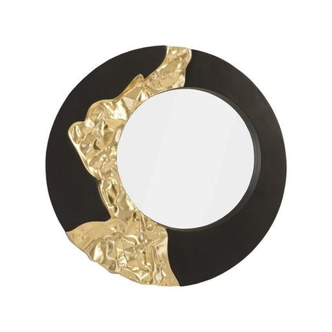 Circular mirror with black and gold leaf design