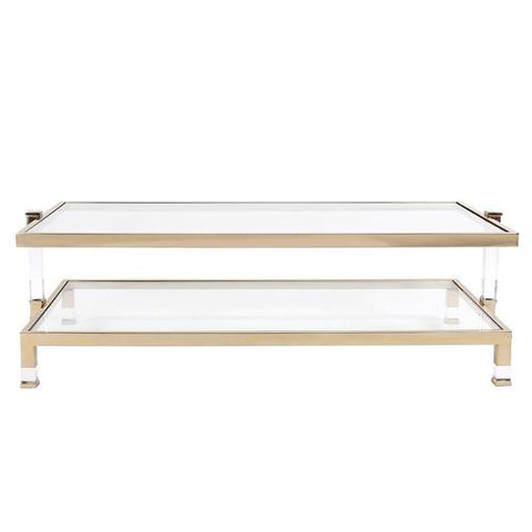 Clear glass coffee table with accented gold frame