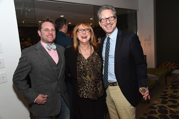 Event co-chairs George Oliphant (L) and Michael Boodro (R) with designer Robin Baron attend the Housing Works Design On A Dime Kick-Off Party on March 1, 2016 in New York City.