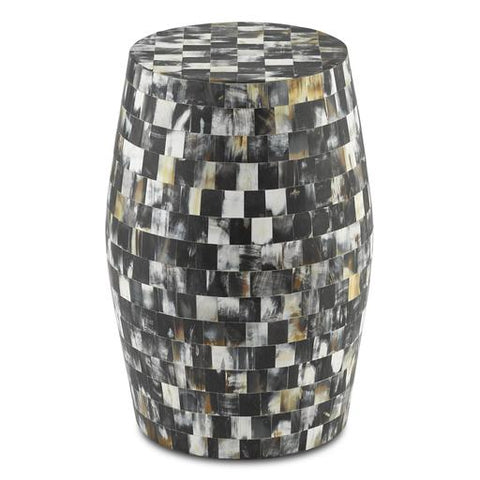 Mosaic tiled side table black and yellow