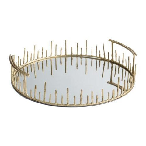 Brass tray with mirrored bottom