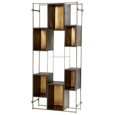 brass and gold etagere