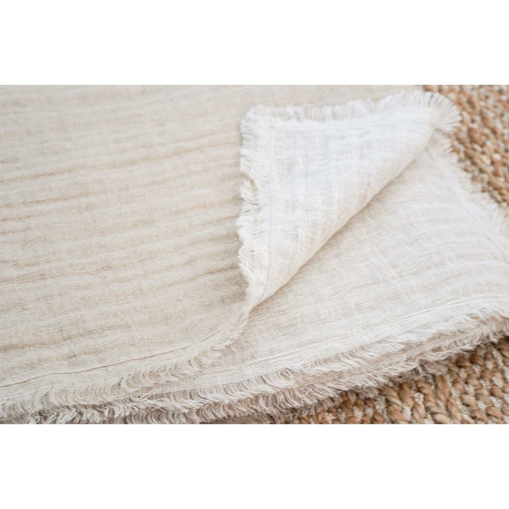 Amelie Natural Crinkle Linen Throw Blanket, folded view